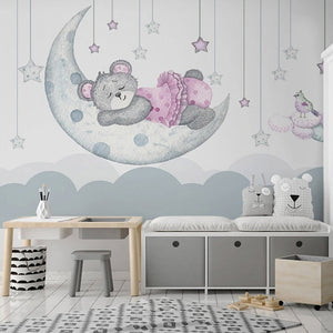 Custom Mural Cartoon Moon Stars Pink Bear Wall Paper