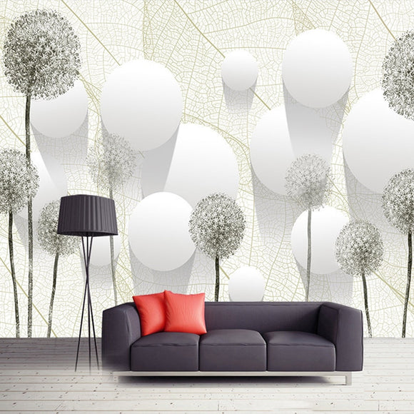 3D Stereoscopic Dandelion Flower Circle Ball Wallpaper
