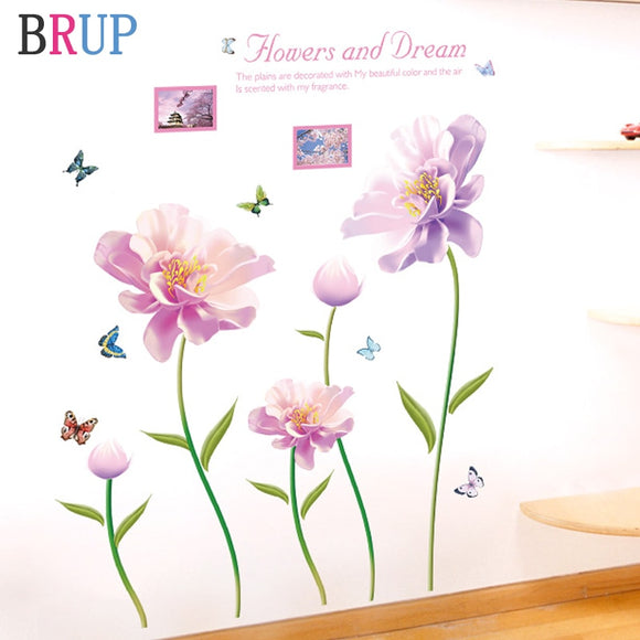 Flower Wall Stickers Large Pink Flowers Home Decor