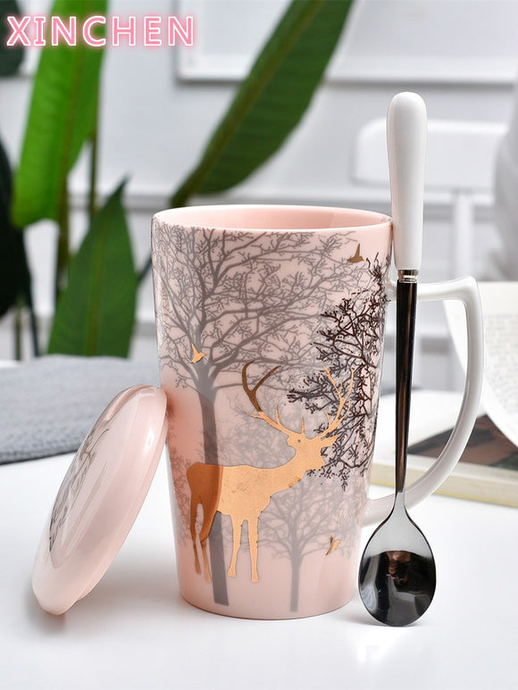 XINCHEN Christmas Deer Mug Ins Pink Girl Heart Ceramic Cup