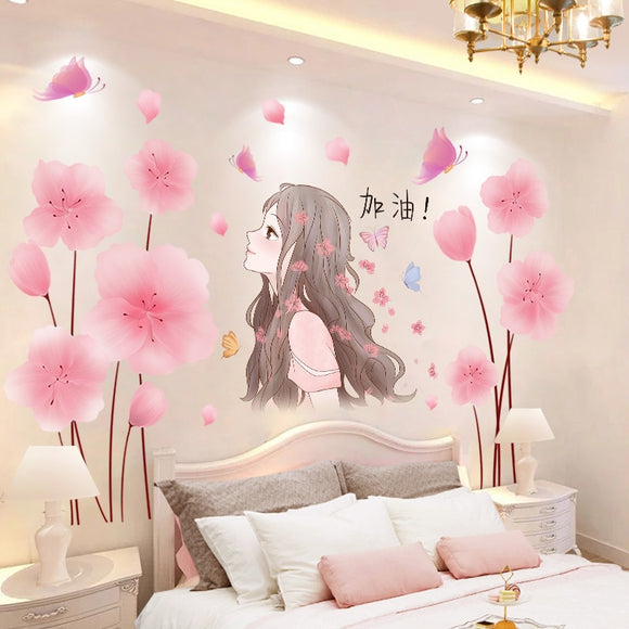 Pink Flowers Plants Wall Stickers