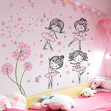 Pink Color Dandelion Wall Sticker