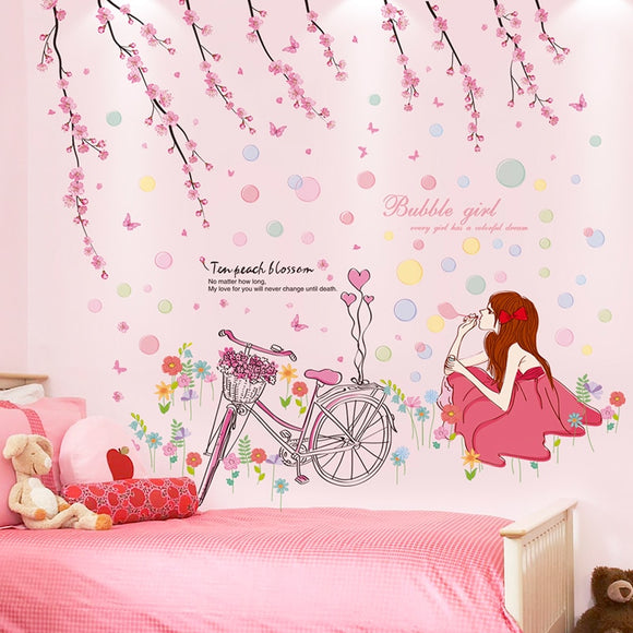 Cartoon Peach Flowers Bicycle Girl Wall Stickers
