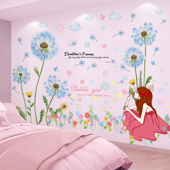 Cartoon Girl Bubbles Dandelion Flowers Wall Stickers