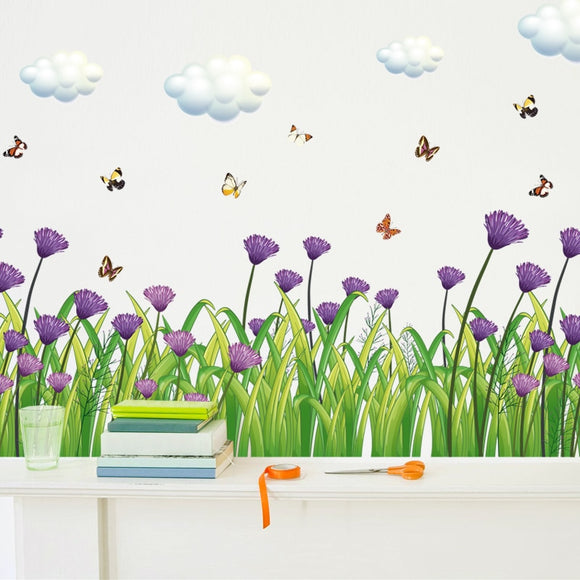 Purple Flower Grass Broders Wall Sticker