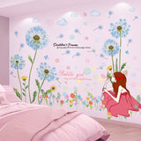 Cartoon Girl Bubbles Wall Stickers