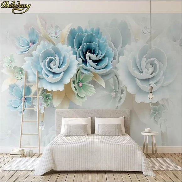Beibehang Custom 3D Wallpaper Embossed blue flowers