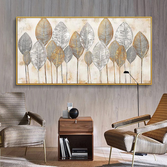 Abstract Golden Leaves Wall Art Canvas Oil Painting Printed