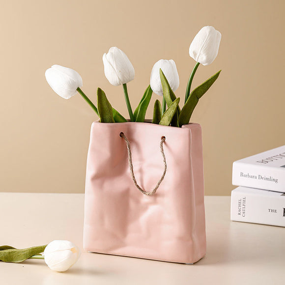 Ceramic Flower Vase Nordic Paper Bag Style