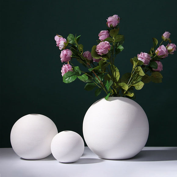 Nordic White Ceramic Flower Vase