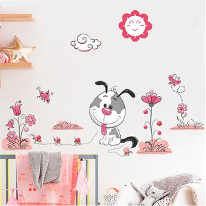 Cartoon Animal Dogs Pet Puppy Flower Wall Stickers