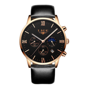 LiGE 9807 Leather Band Chronograph | 3 Variants