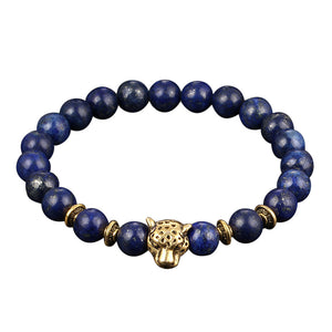 Jaguar Head Stone Beaded Handmade Bracelet | 11 Colours