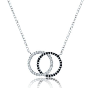 925 Sterling Silver with Black and Silver Spinel Pendants Necklace
