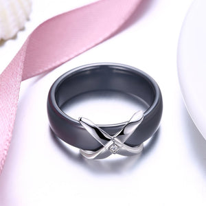 Sterling Silver X on Black / White Ceramic Ring