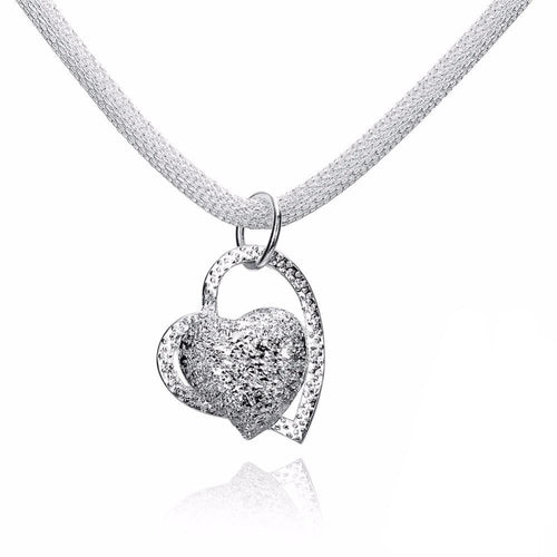 925 Sterling Silver 2 Heart Necklace