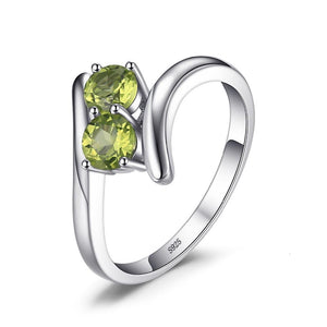 2 Stone 0.82ct Sterling Silver Ring