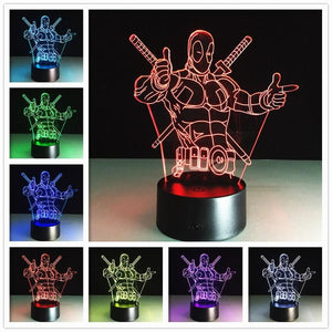 Color Changing 2016 remote Avengers Mavel 3D lamp LED Night Light IRON MAN 3D illusion night lamp table desk lamp home lighting