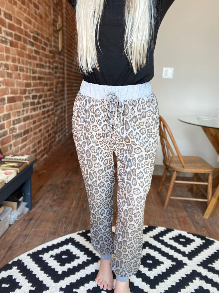 Need Me Brushed Leopard Joggers