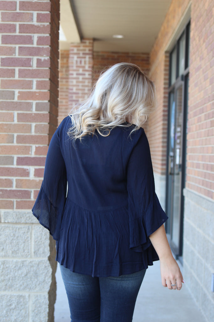 Always On My Mind Embroidered Top  - Navy