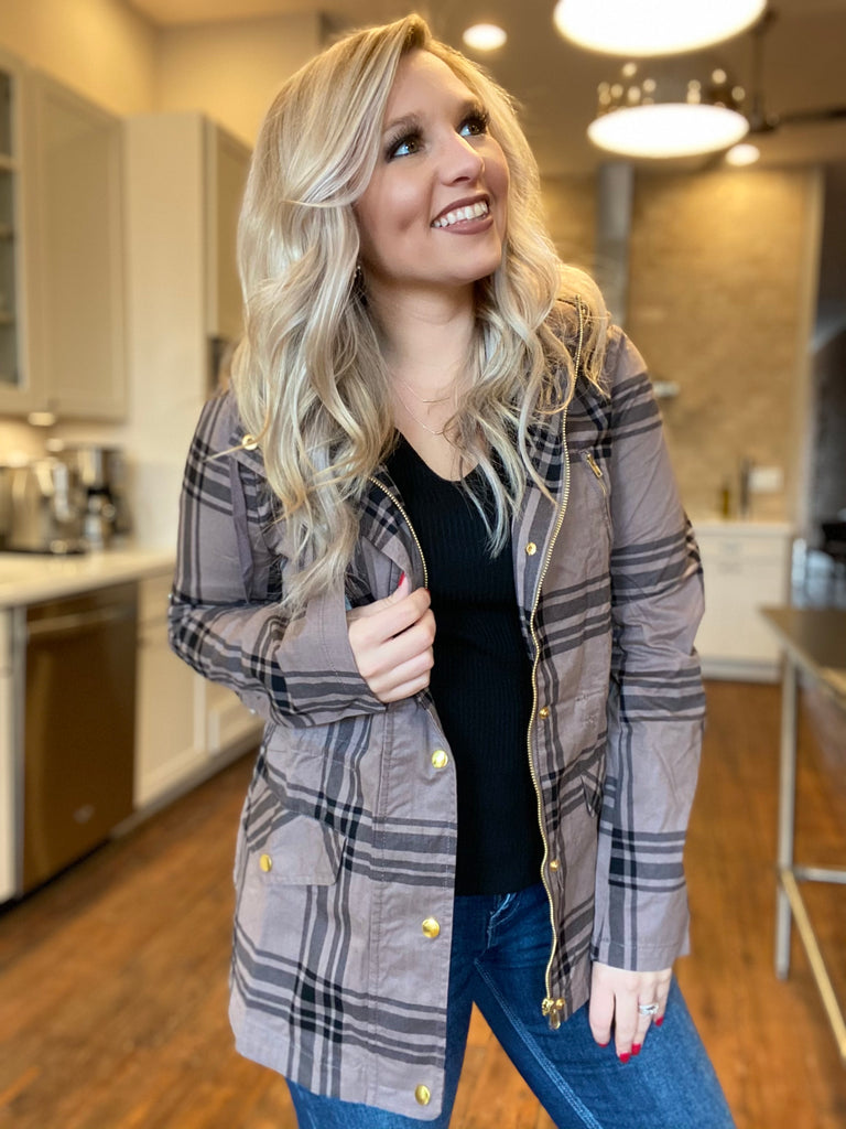 She's Going Places Plaid Jacket