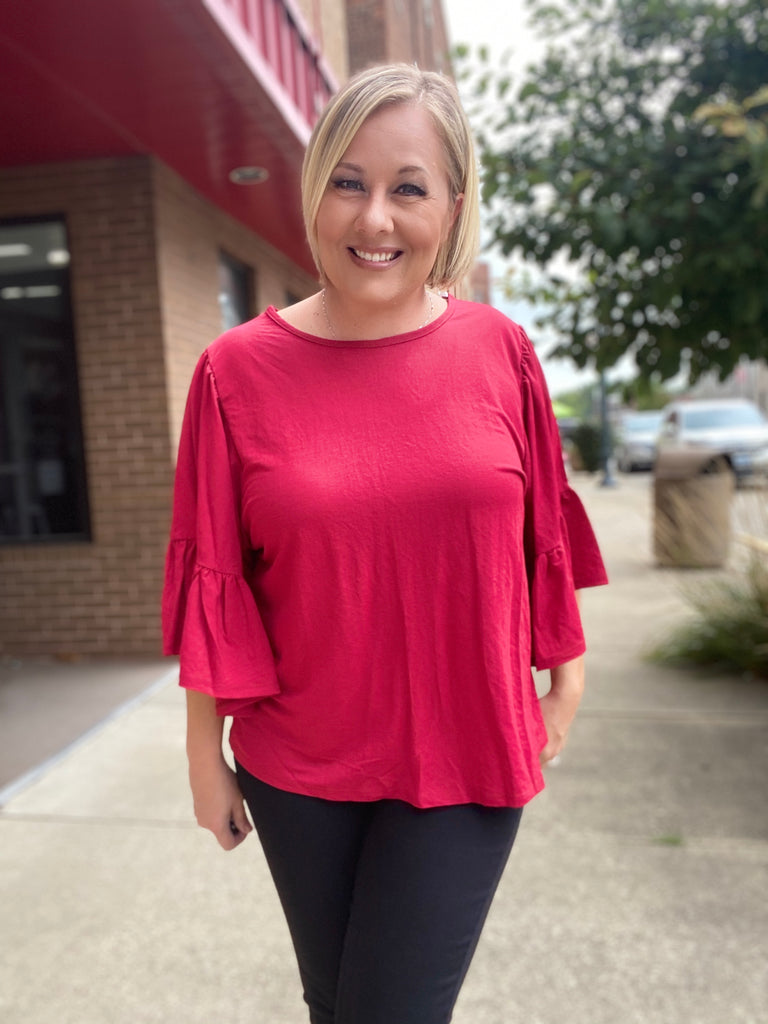 The Stacie Ruffle Blouse In Crimson