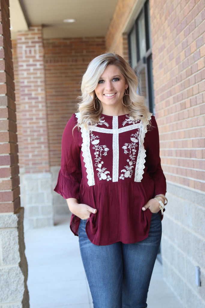Always On My Mind Embroidered Top - Burgundy