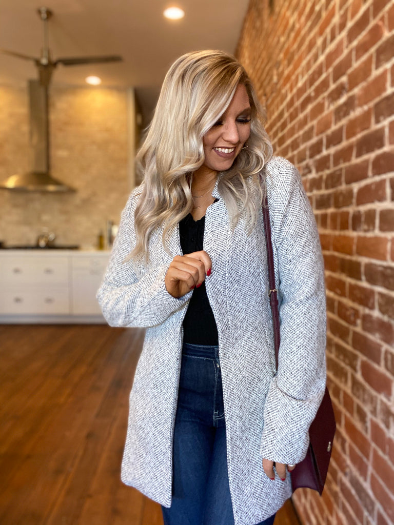 The Demi Open Front Herringbone Jacket
