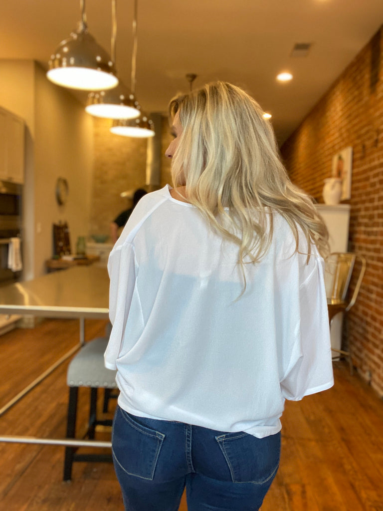 Solid Drape Blouse In White