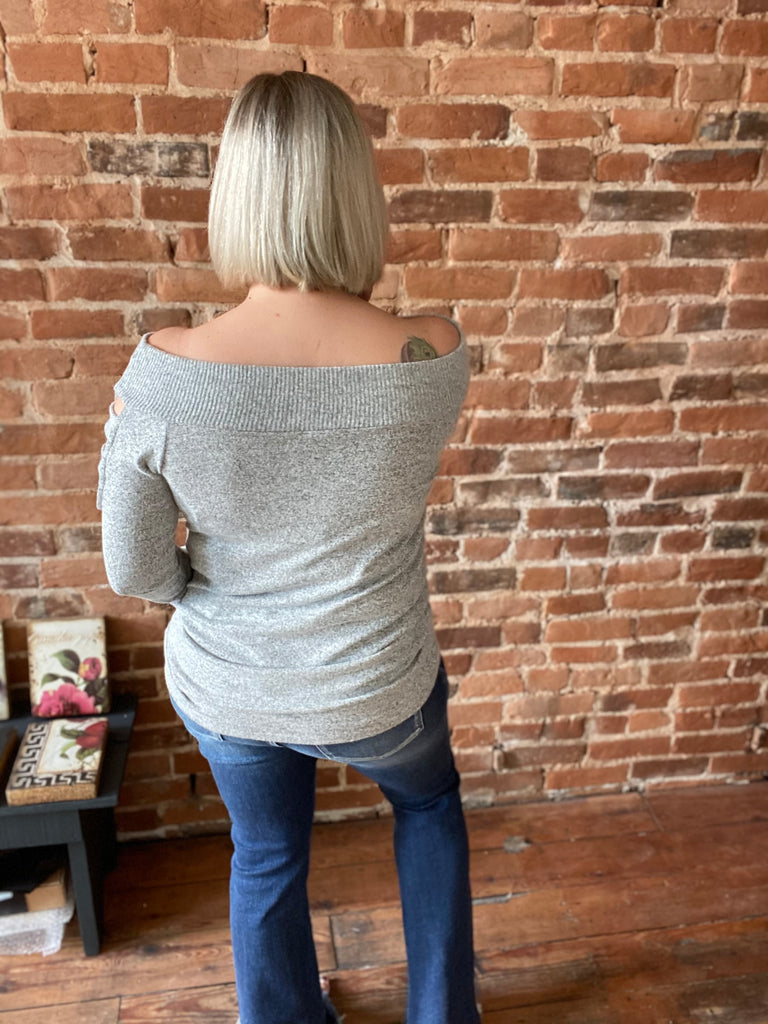 Completely Innocent Off The Shoulder Top In Grey