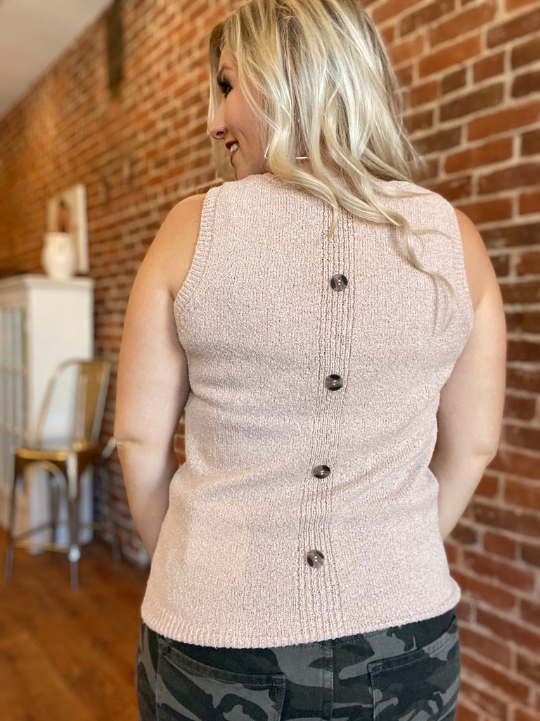 Knit Back-Button Tank In Tan