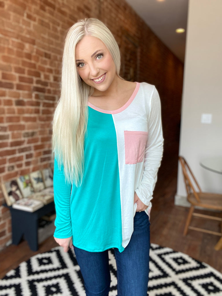 Destiny Color Block Top In Mint/Blue