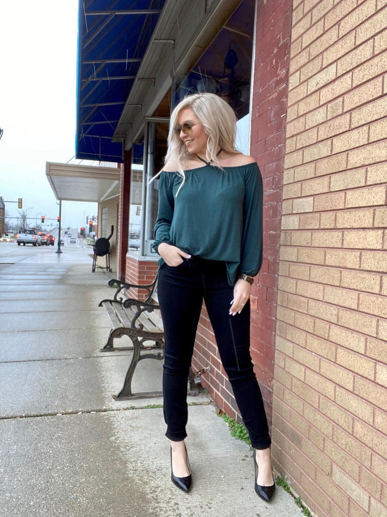 Keep Wishing For Love Hunter Green Blouse
