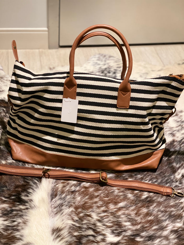 Canvas Stripe Duffel Bag Black and White