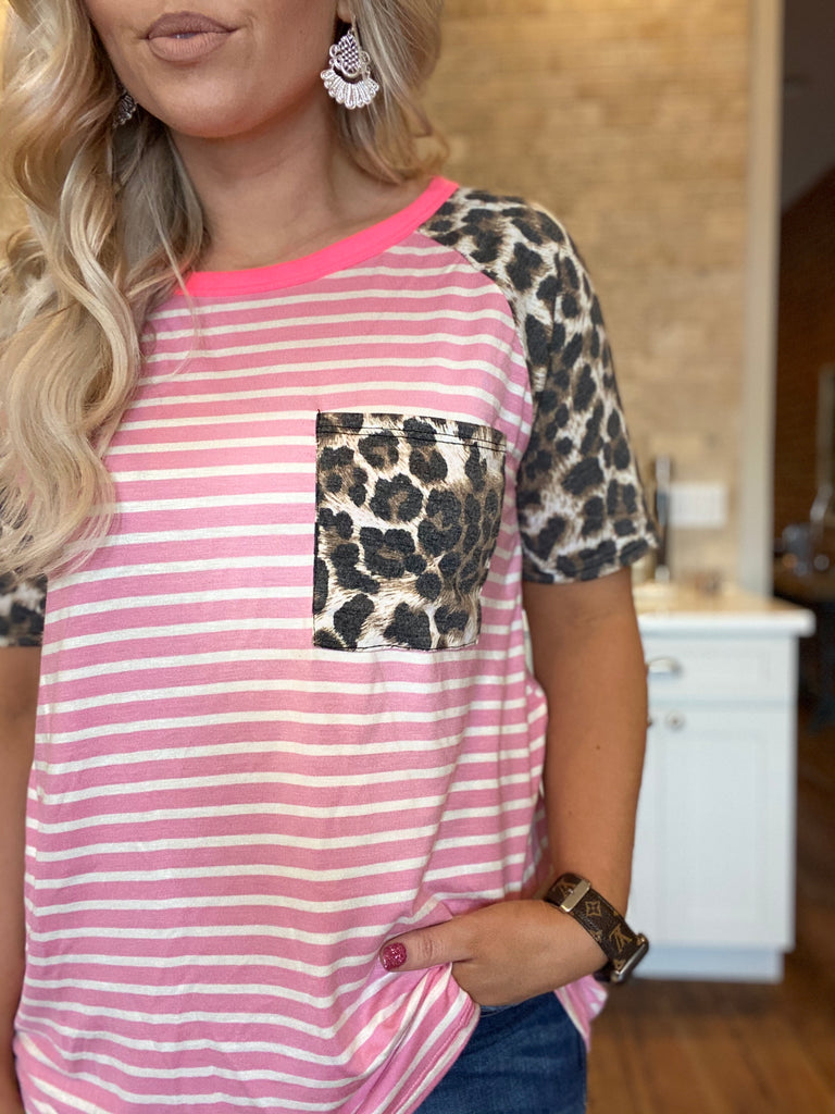 University Pocket Tee In Pink Stripes