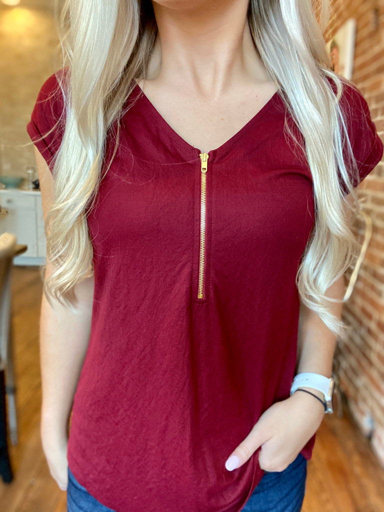 Star Burgundy Zipper Top