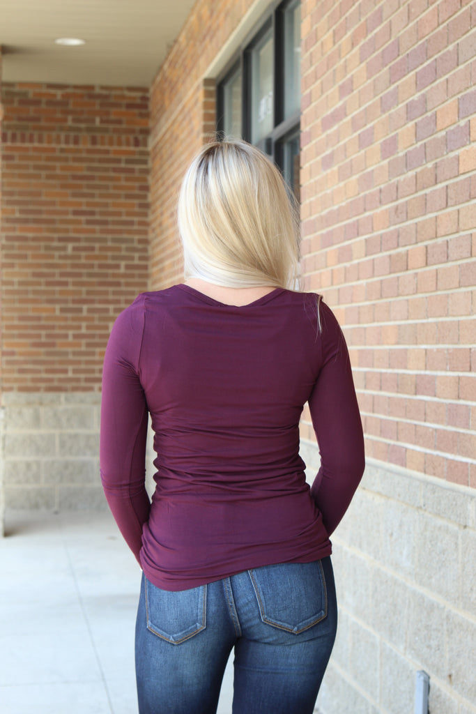 Keeping Secrets Long Sleeve Basic Plum