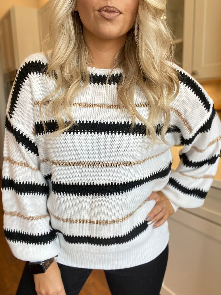 Strength Striped Sweater In White