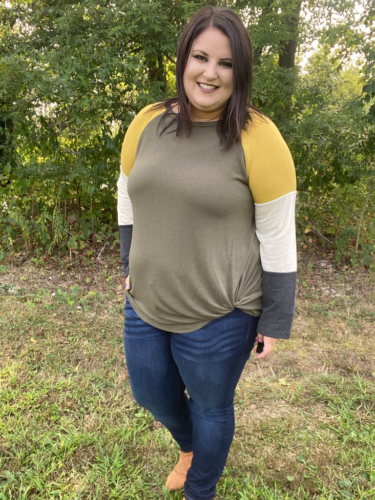 Abstract Love Color Block Top In Olive