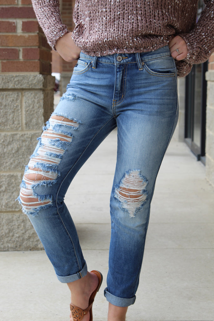 Fall To Pieces Distressed Girlfriend Fit Denim