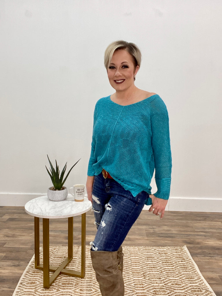 The Perfect Touch Turquoise Slouch Sweater