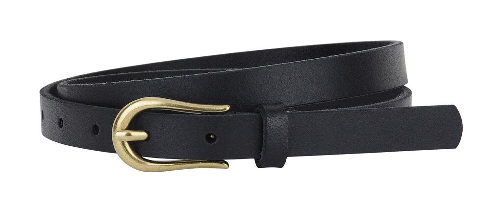 Skinny Equestrian Buckle Belt - Black