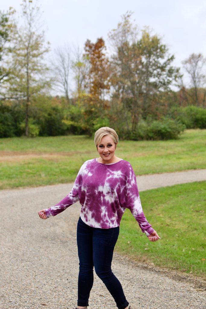Power Plum Tie Dye Sweater