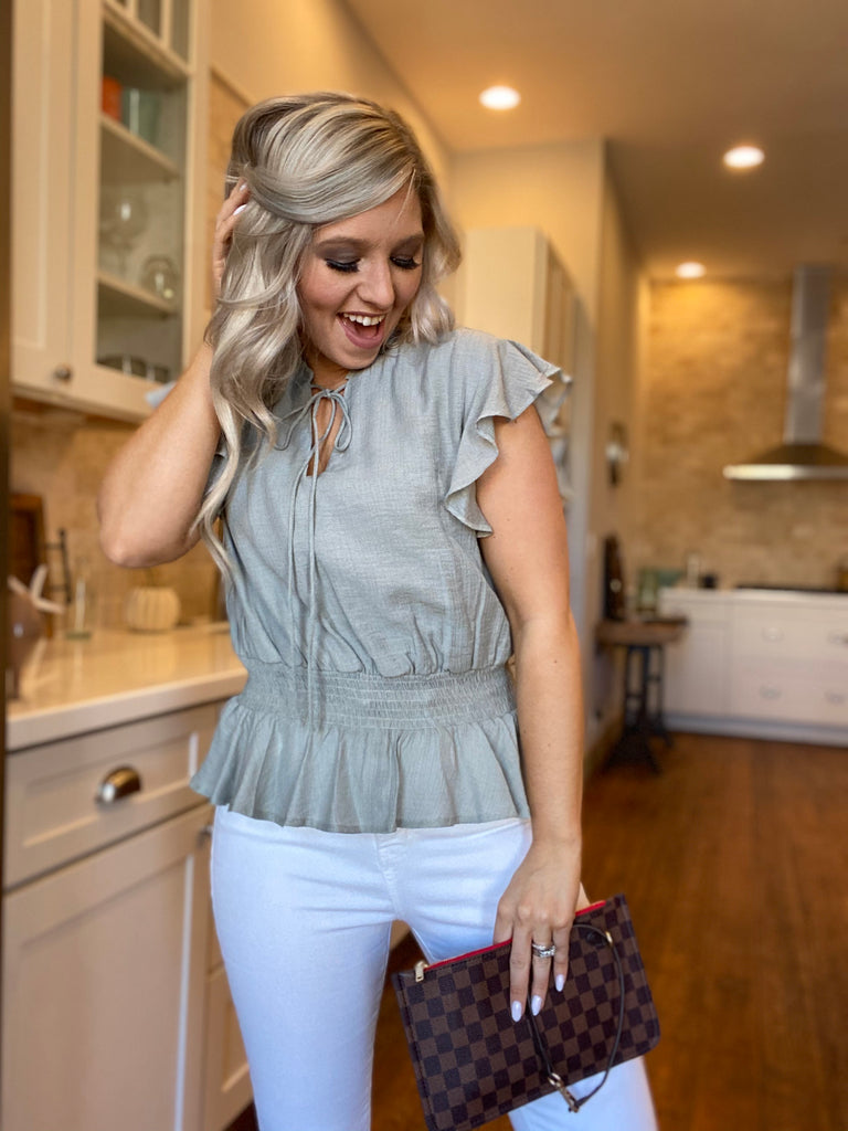 Always Feel Like Fun Blouse In Misty Sage