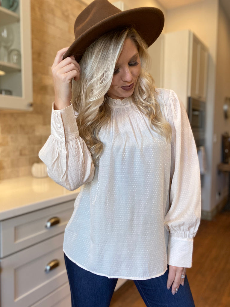 Home Ruffle Neck Mock Top In Ecru