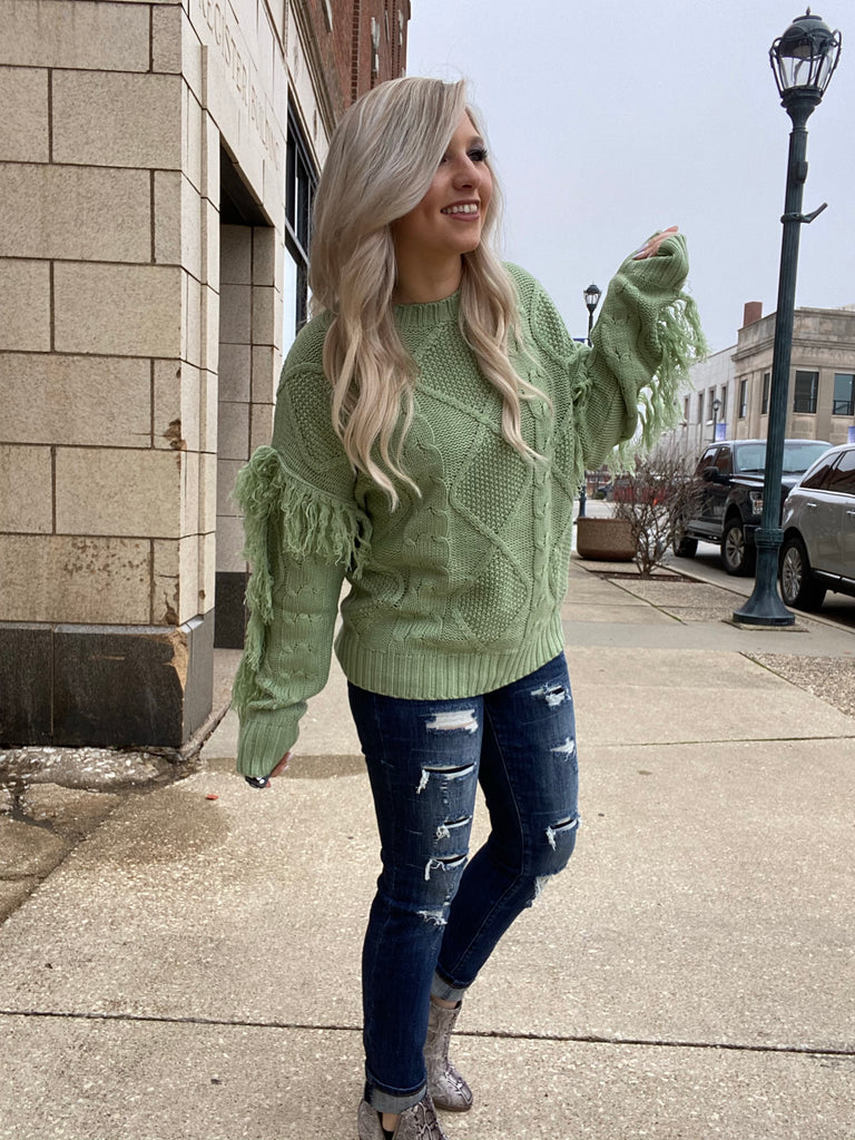 Fell In Love Sage Fringe Sweater