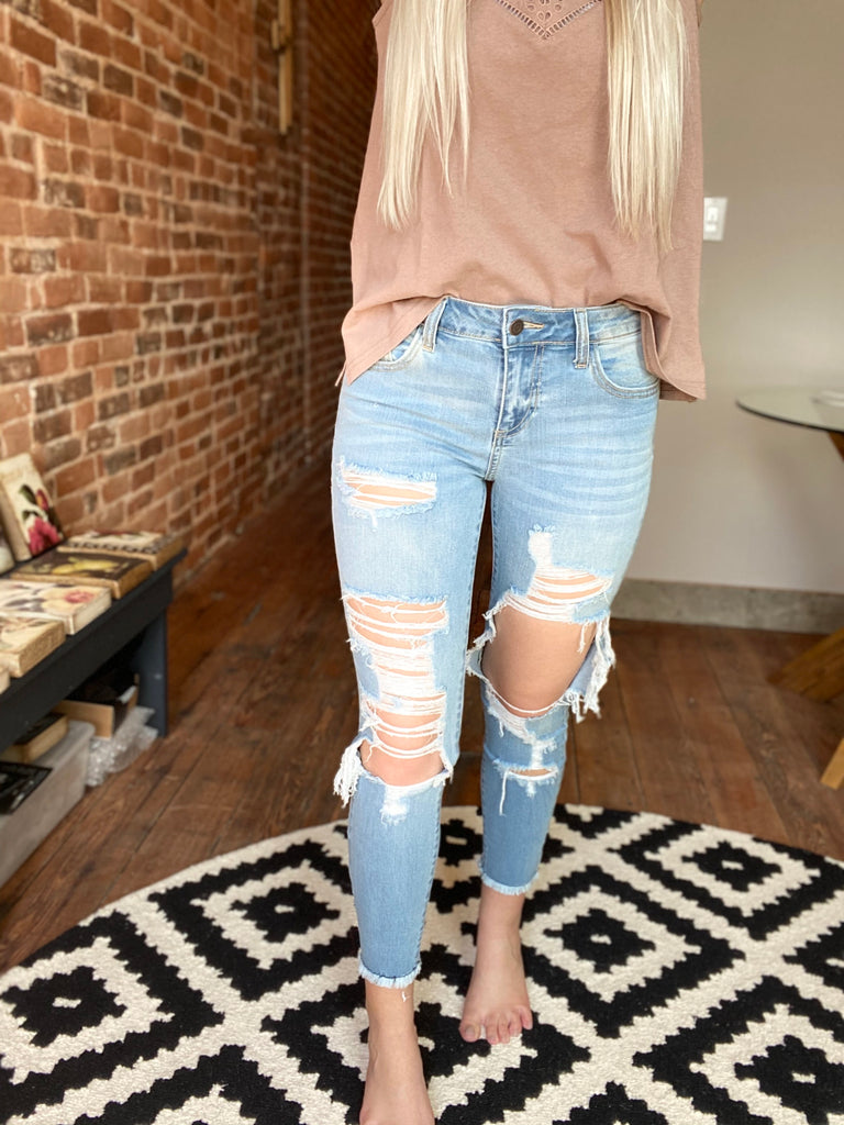 Whiskey Distressed Denim