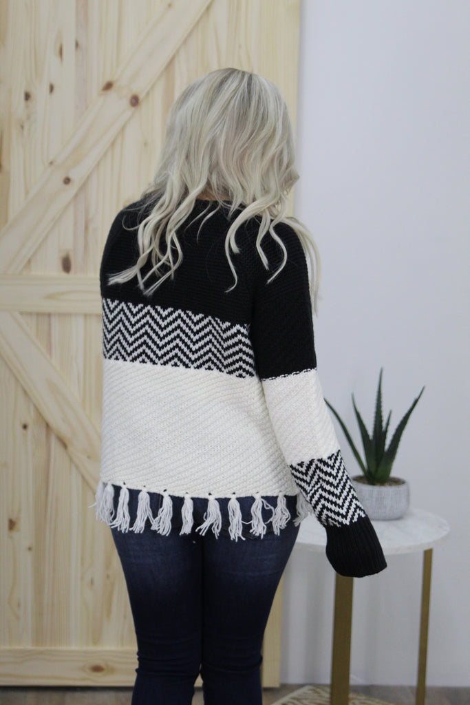 Walk The Line Color Block Fringe Sweater