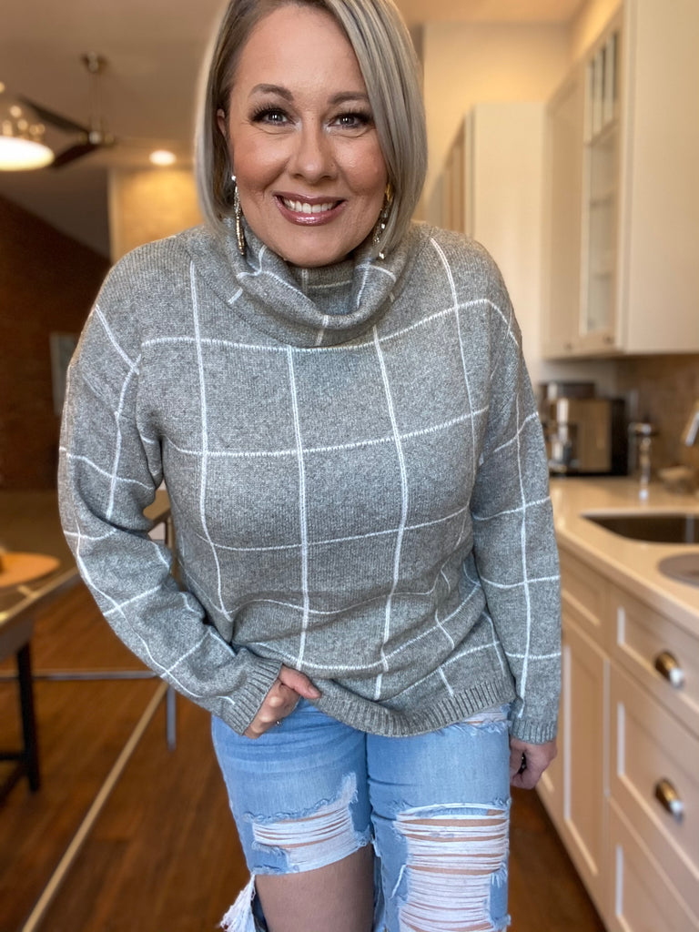 Grey Trendy Cowl Neck Sweater