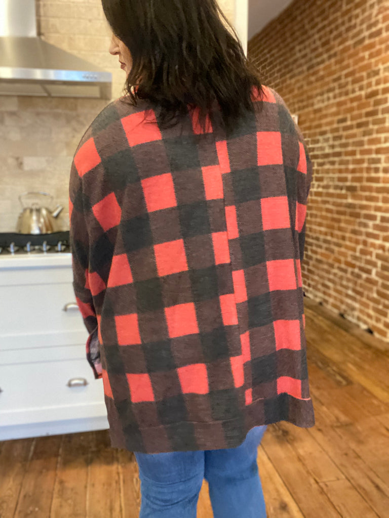 Callin' The Shots Plaid Turtle Neck Tunic In Red- P